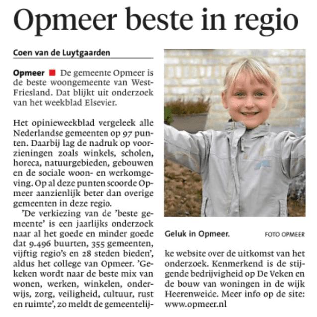 Gemeente Opmeer, beste woongemeente van West-Friesland